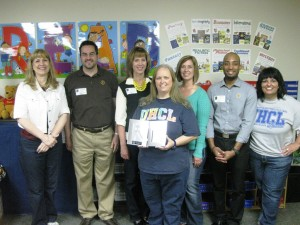 Credit union & Crockett Elementary team members present Debra Forehand with her Appreciated Teacher Award